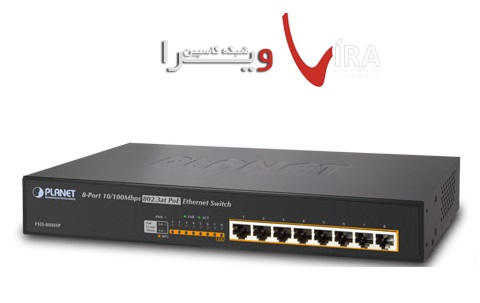 سوئیچ 8پورت POE پلنتSWITCH PLANET FSD808HP