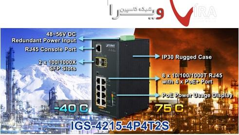 سوئيچ صنعتي 8 پورت پلنت SWITCH PLANET IGS 4215 4P4T2S مقاوم در هر درجه حرارت و شرایط جوی
